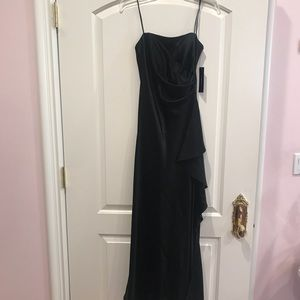 Black strapless evening gown